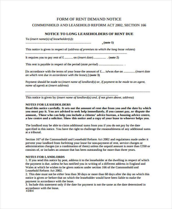 rent demand notice form1