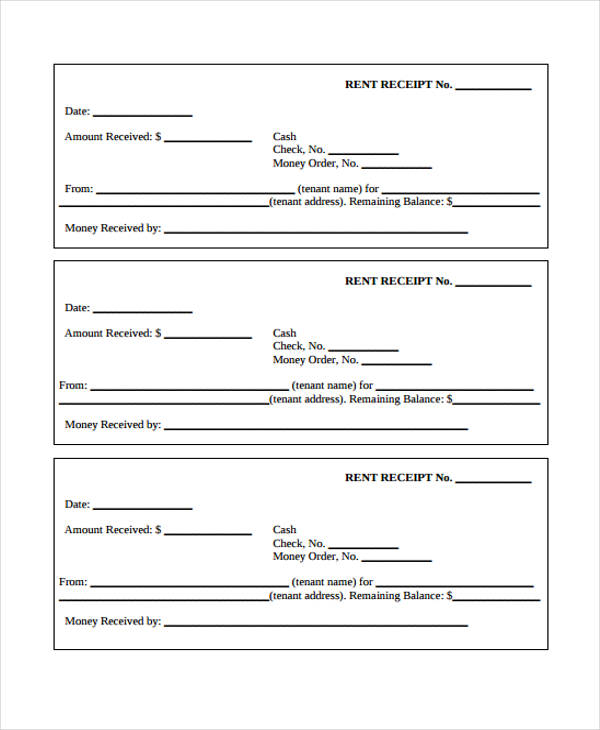 Printable Receipt Forms Free Documents In Word PDF - Rent payment receipt template