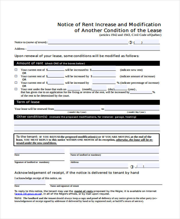 Rent Increase Notice Form