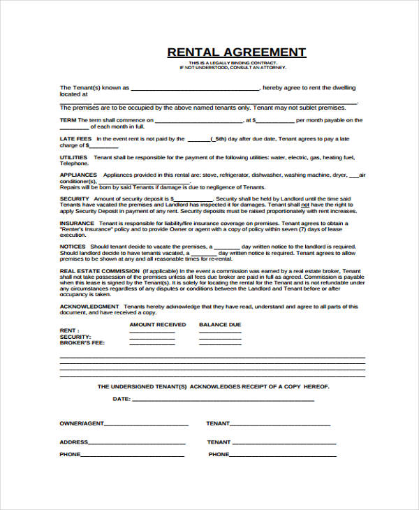 rental agreement contract form