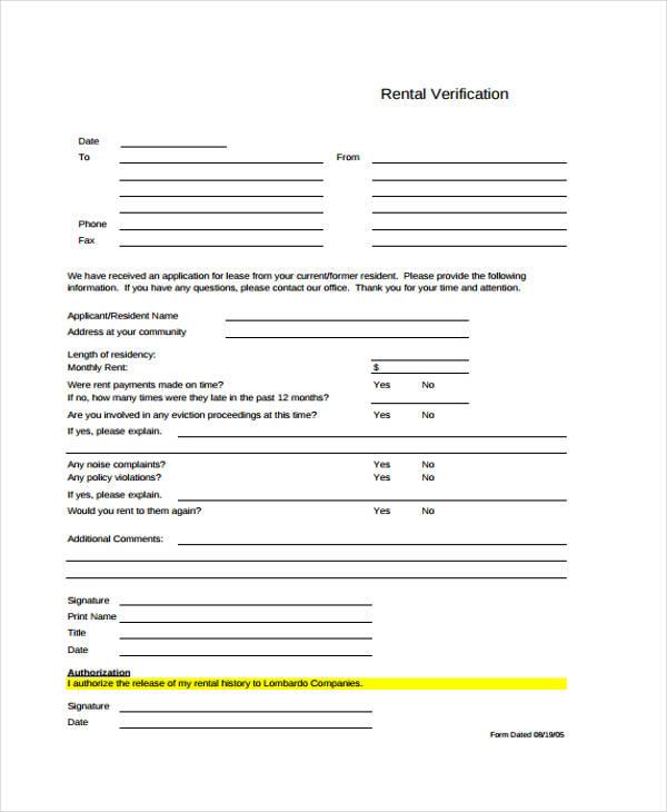rental application verification form