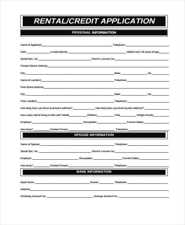rental credit application form