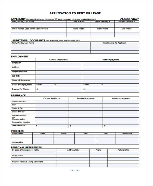 rental lease application form
