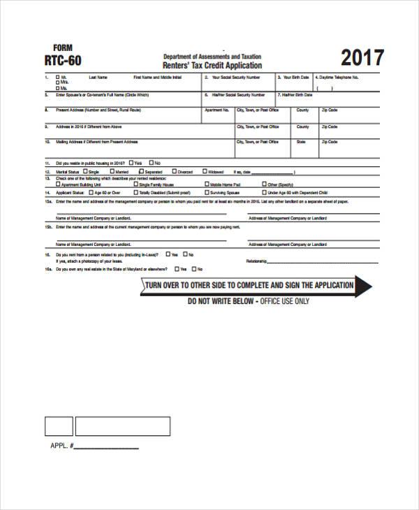 rental tax credit application form