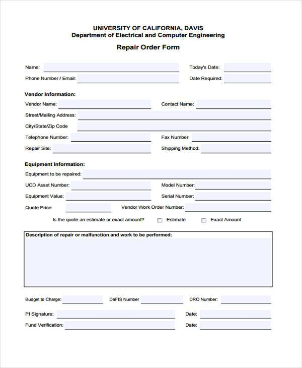 repair work order form
