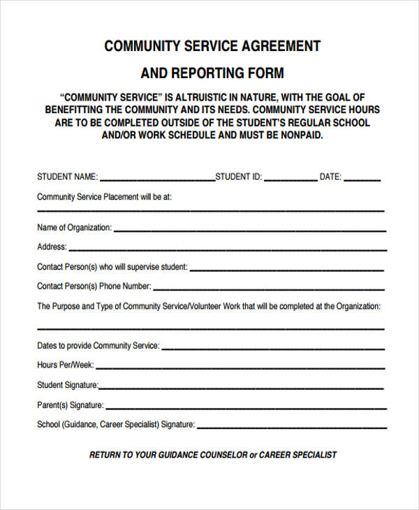 reporting community service agreement form