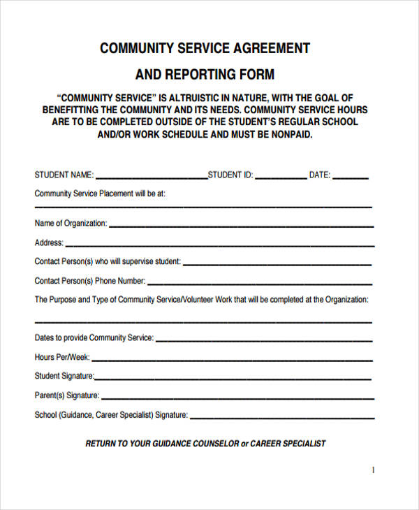 reporting community service agreement form1