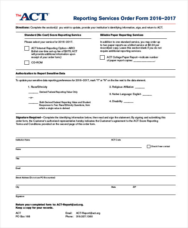 reporting service order form in pdf