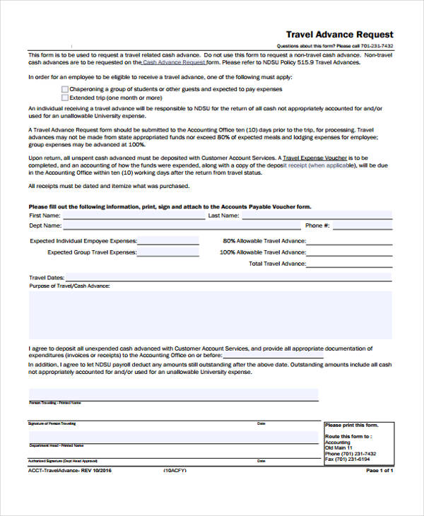 request for travel advance form