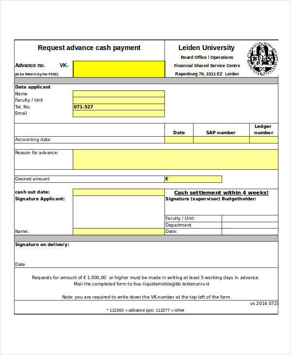 request form advance cash payment form