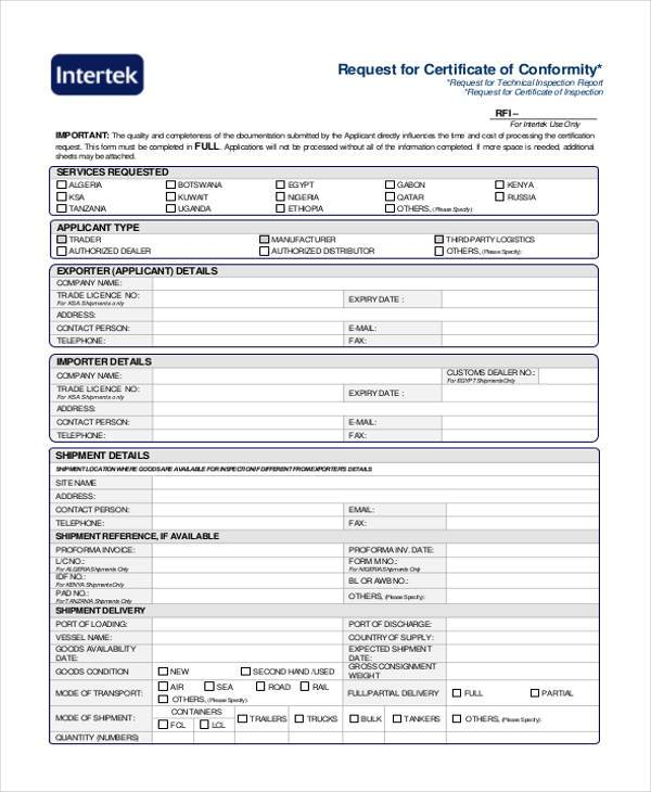 request for certificate of conformity form