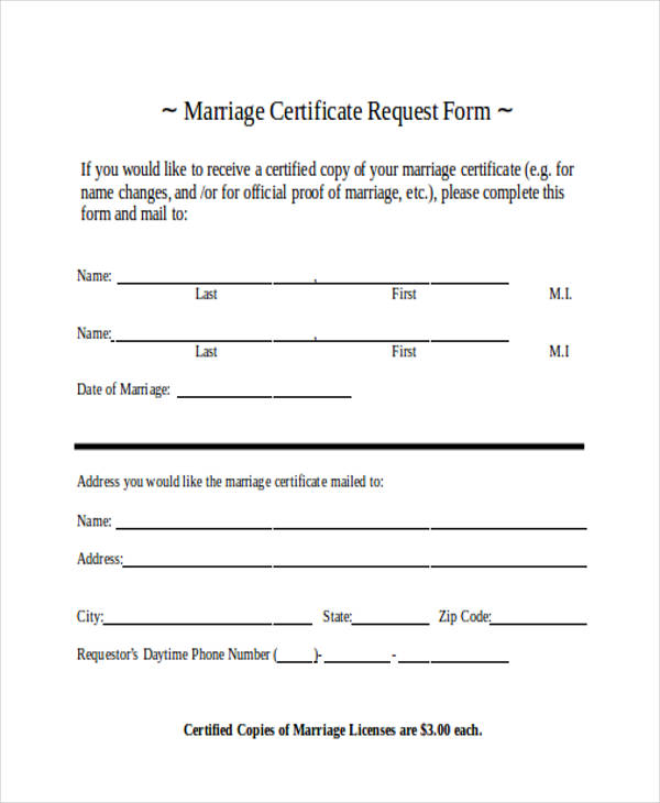 request for marriage certificate form