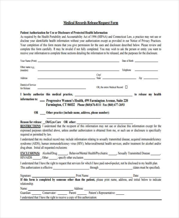 request for medical records release form1