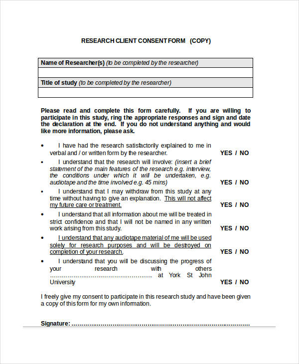 research client consent form