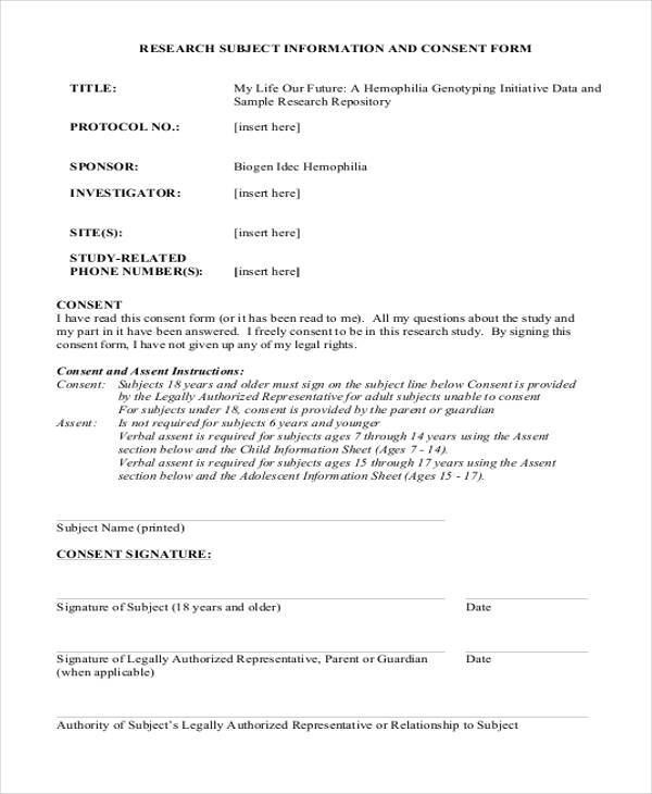 research subject information consent form