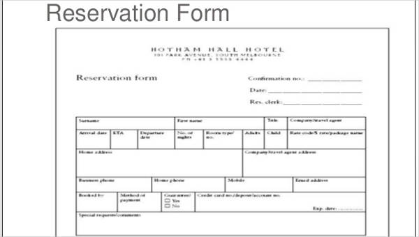 Reservation-Form-Template Sample Hotel Booking Order Form on for printing company, office supply, contractor change, template wholesale clothing,
