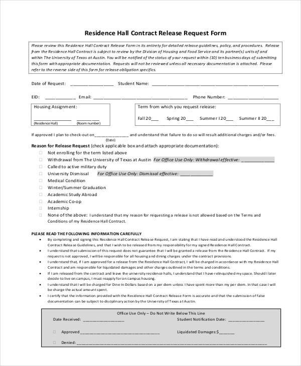 residence hall contract release request form