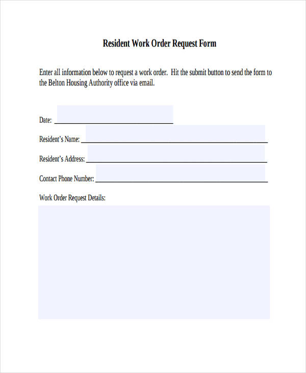 resident work order request form