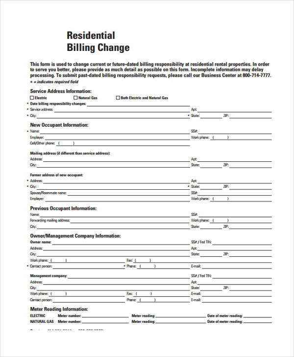residential billing change form