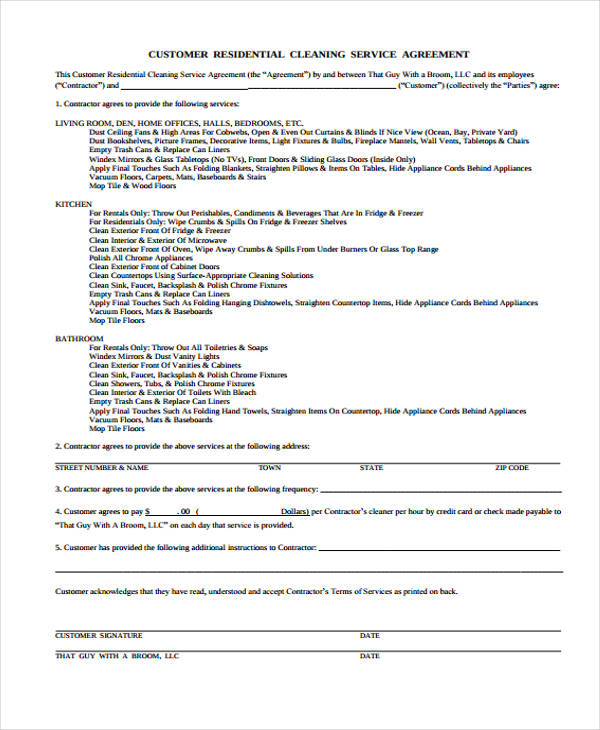 Service agreement form for Janitorial service contract template