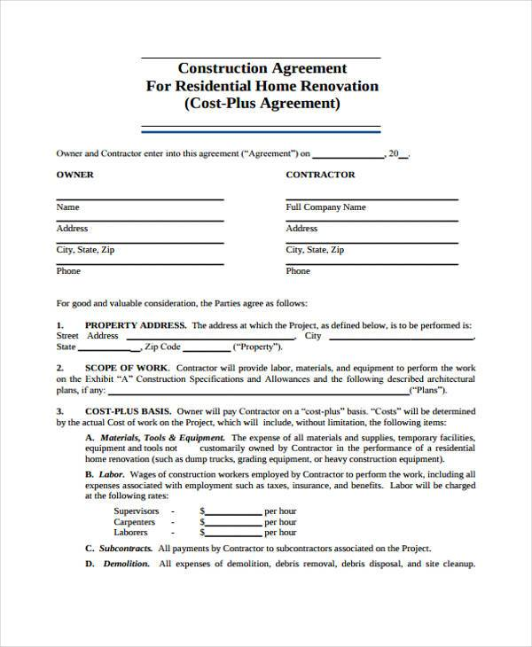 residential construction agreement form sample