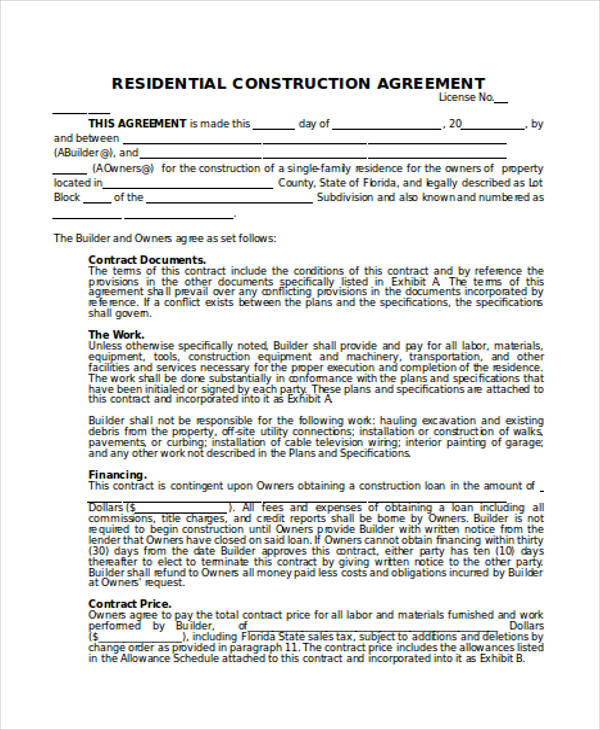 Lovely Agreement Letter For House Construction Graphics
