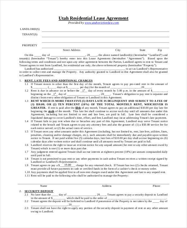 utah residential lease agreement image collections agreement letter format. Black Bedroom Furniture Sets. Home Design Ideas