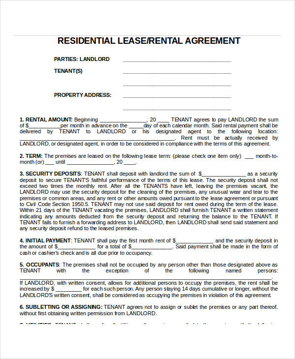 residential lease rental agreement form