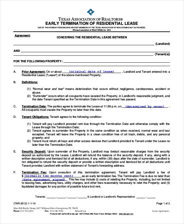 residential lease termination agreement
