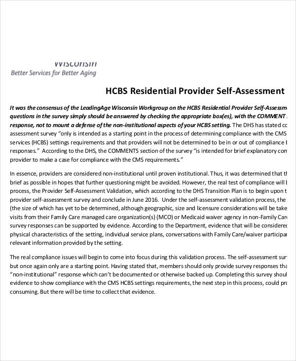 residential provider self assessment form