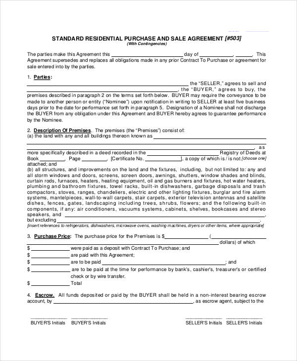 residential purchase sale agreement form