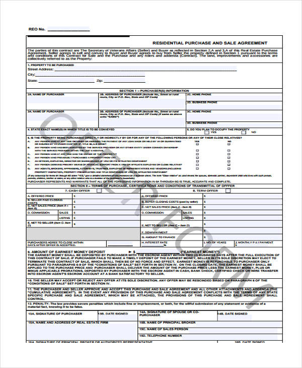 residential purchase sale agreement form1