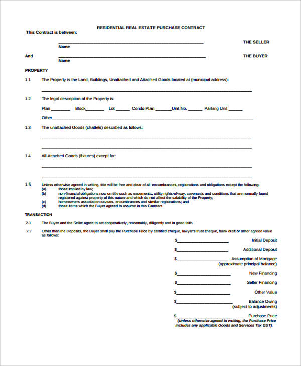 residential real estate purchase agreement form2