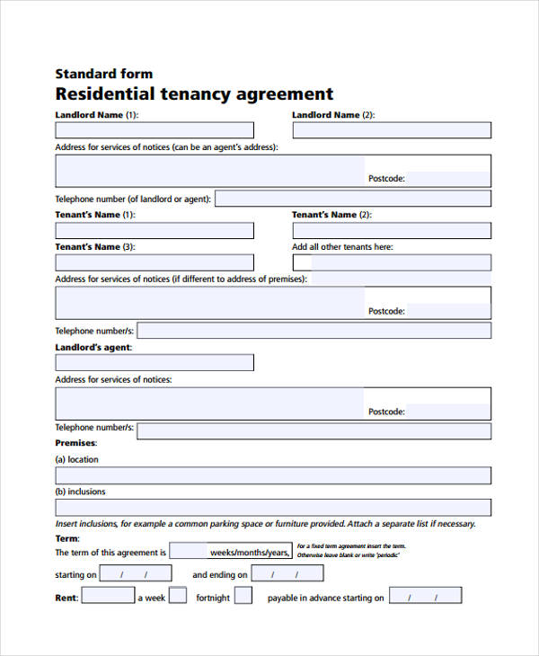 residential tenancy contract agreement form