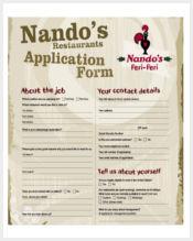 restaurant application form pdf