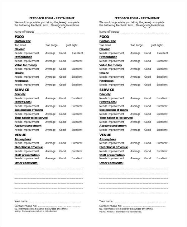 restaurant customer service feedback form