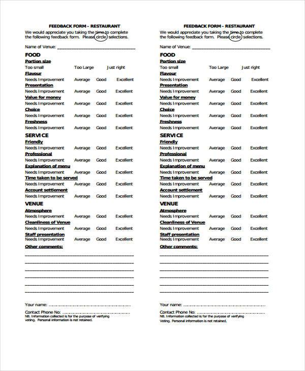restaurant employee feedback form