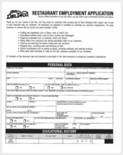 restaurant employment application
