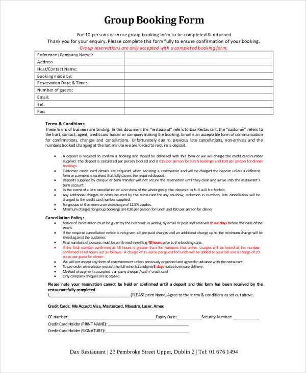 Reservation Form Templates