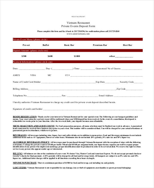 restaurant reservation deposit form3