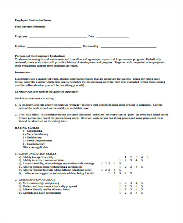 29 Sample Employee Evaluation Forms