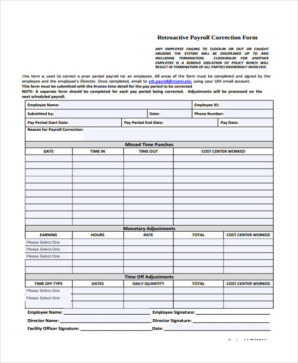 retroactive payroll correction form