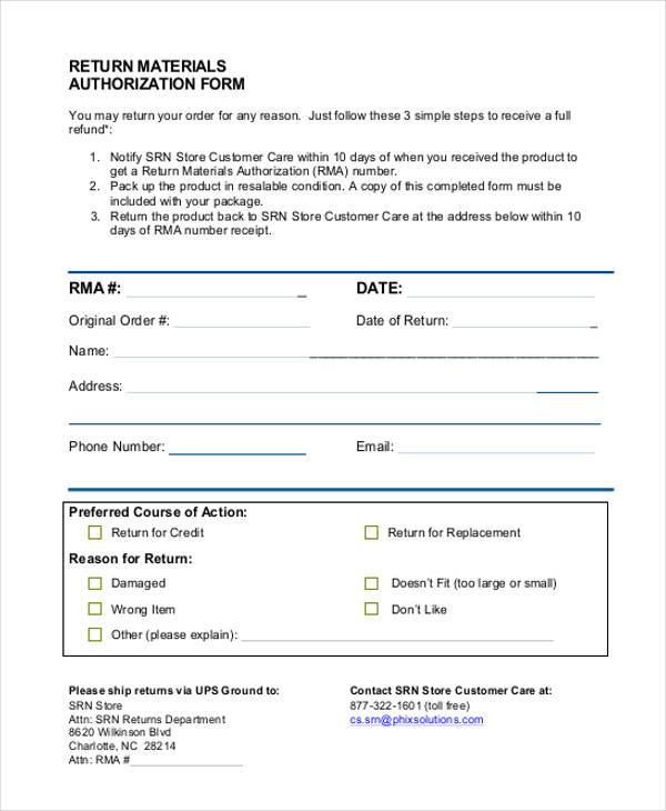 return materials authorization form