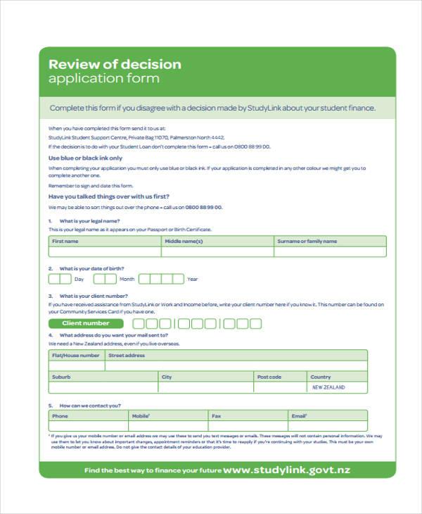 review decision application form