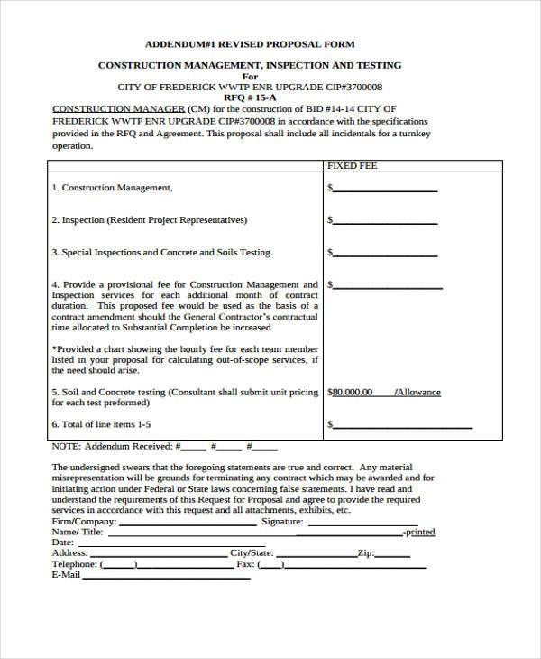 9 Construction Proposal Form Samples Free Sample Example – Construction Proposal Form