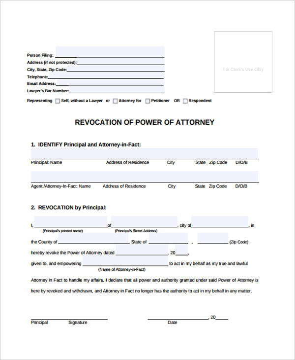 Power of attorney form template general revocation of power of attorney pronofoot35fo Images