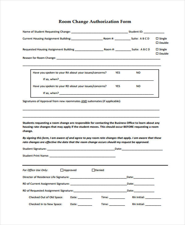 room change authorization form