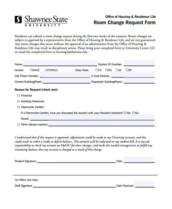 room change request form