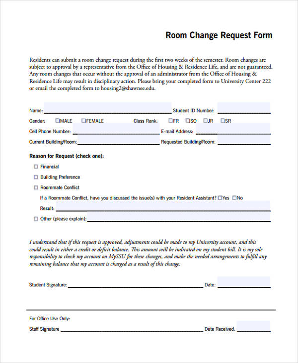 room change request form2