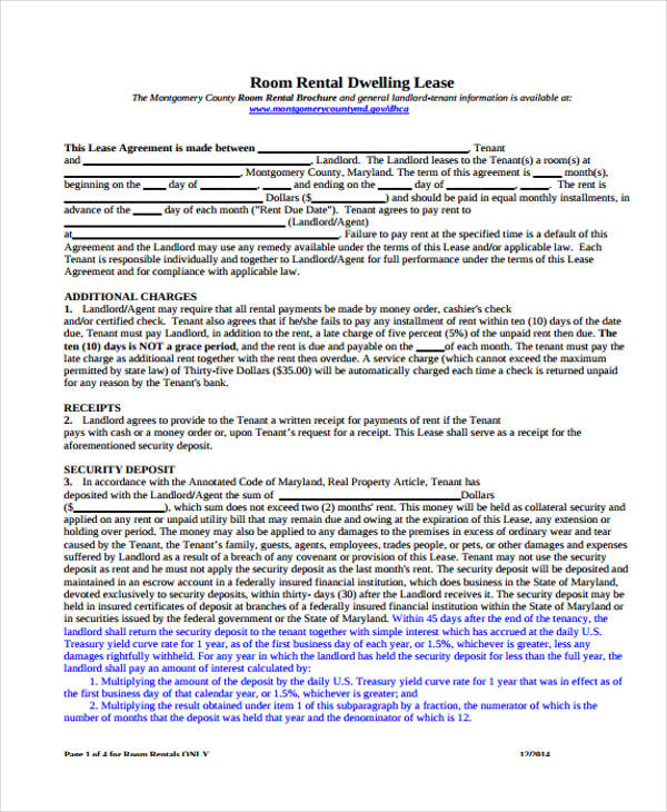 room rental lease agreement form5